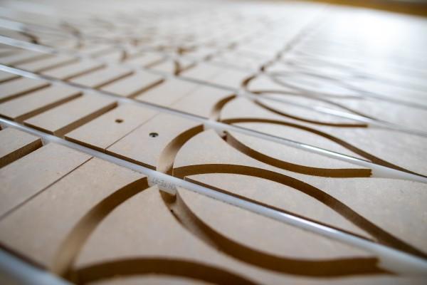 MDF Fußbodenheizungssystem für Trockenbau - Montagefertig* - Preis / m² (Produkinformationen siehe B