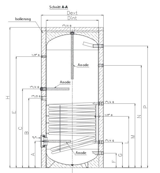 Warmwasserspeicher / Boiler mit 1 Register und Isolierung