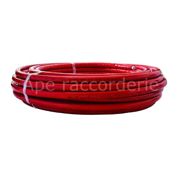 Alu - Mehrschichtverbundrohr APE in Rot mit Isolierung