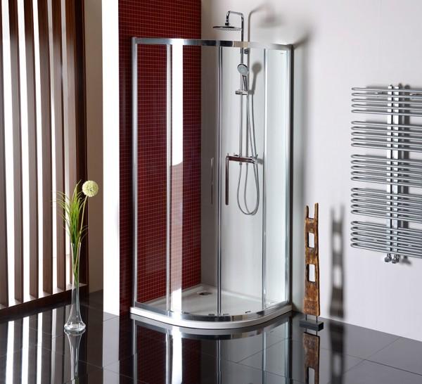 Duschabtrennung R55 zum Schieben 100x100 - Viertelkreis aus Glas