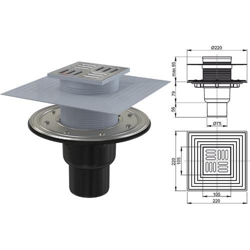 Alca Plast Bodenablauf mit mit senkrechtem Abgang DN 75 mit Einlaufrost aus Edelstahl 105 x 105mm